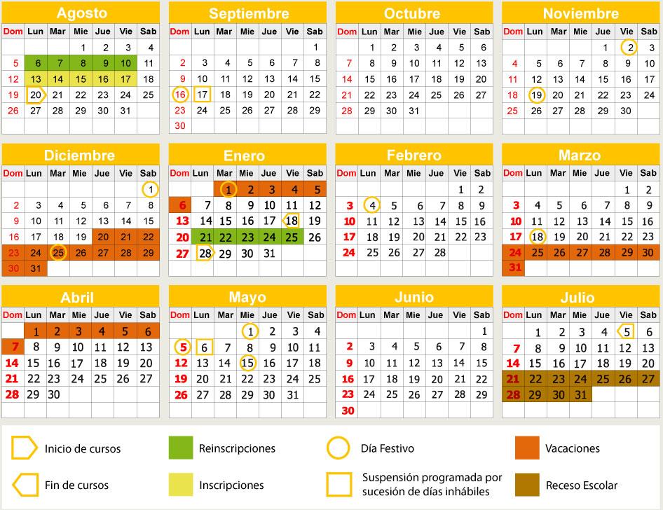 Calendario de actividades generales del ciclo escolar